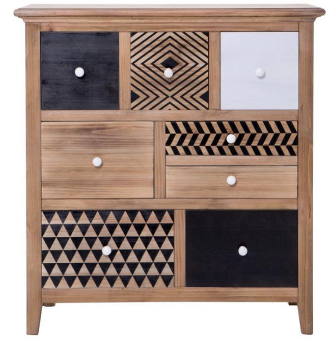 Cleo 8 Drawer Chest Toybox with Teak Colour with Pattered Design