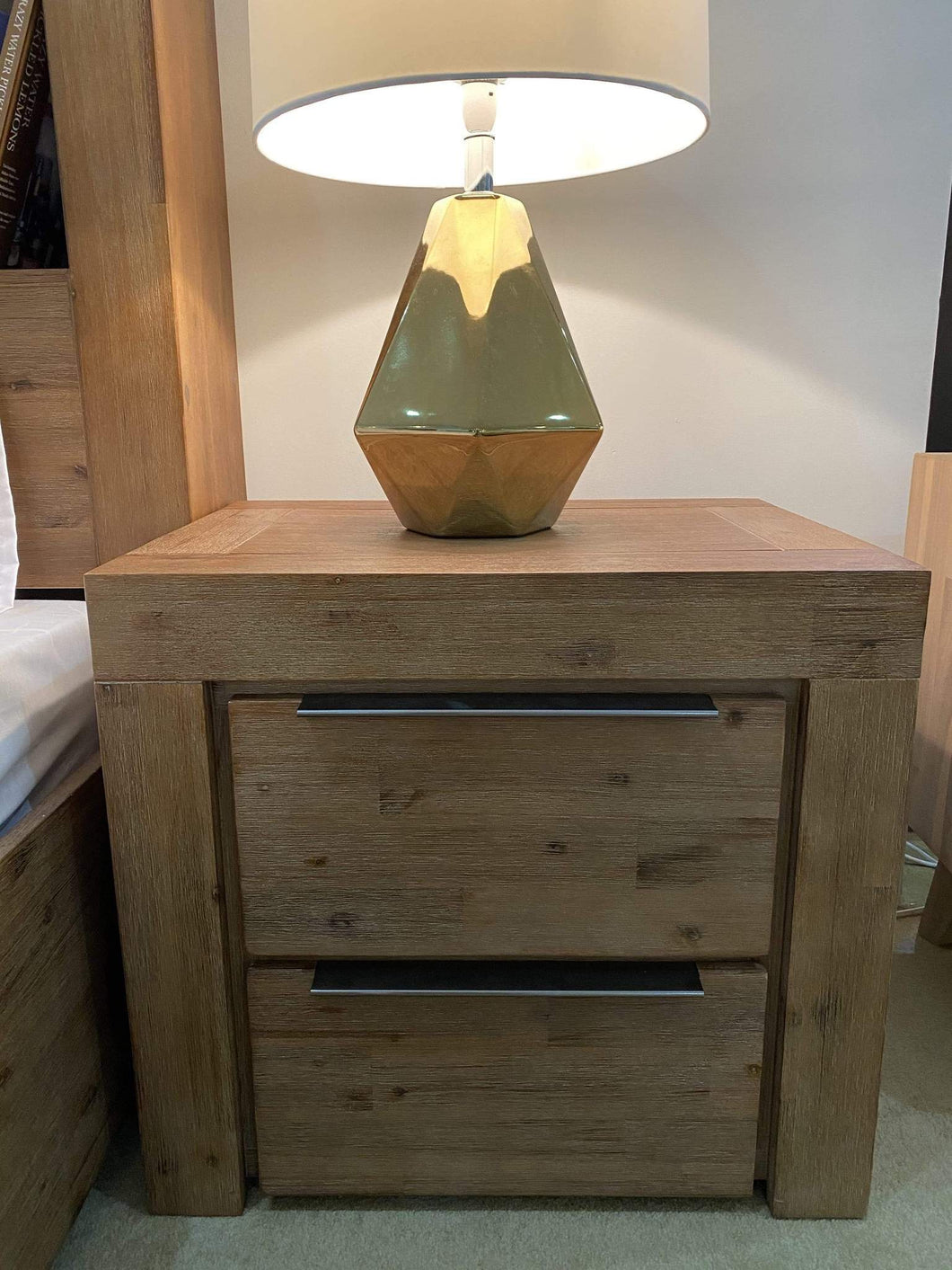 Cube Timber Bedside Table