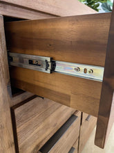 Timber tallboy with drawer open