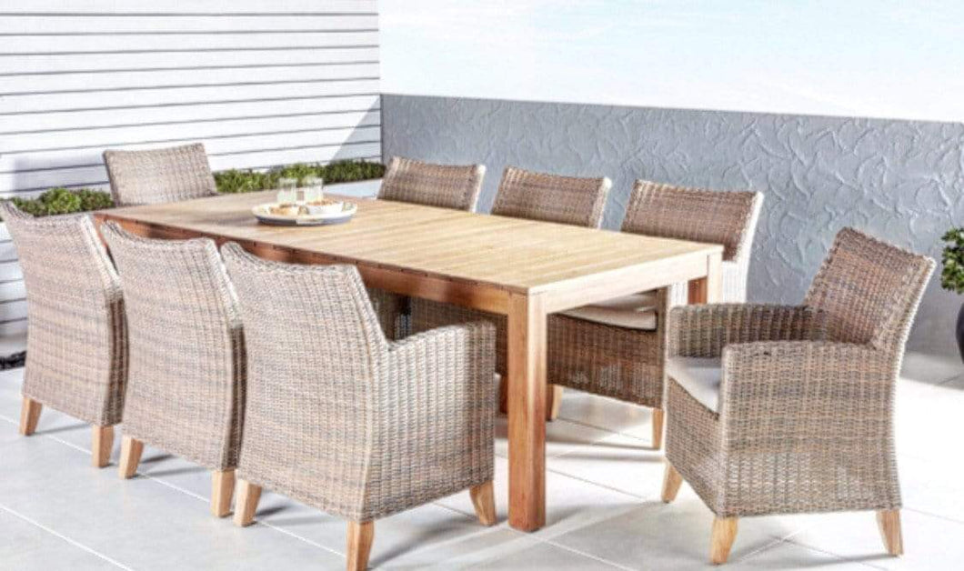 Outdoor Dining Suite with Solid Timber and Aluminium Construction