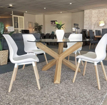 Europa Dining Set with Round Oak Glass Top and 4 Resin Chairs