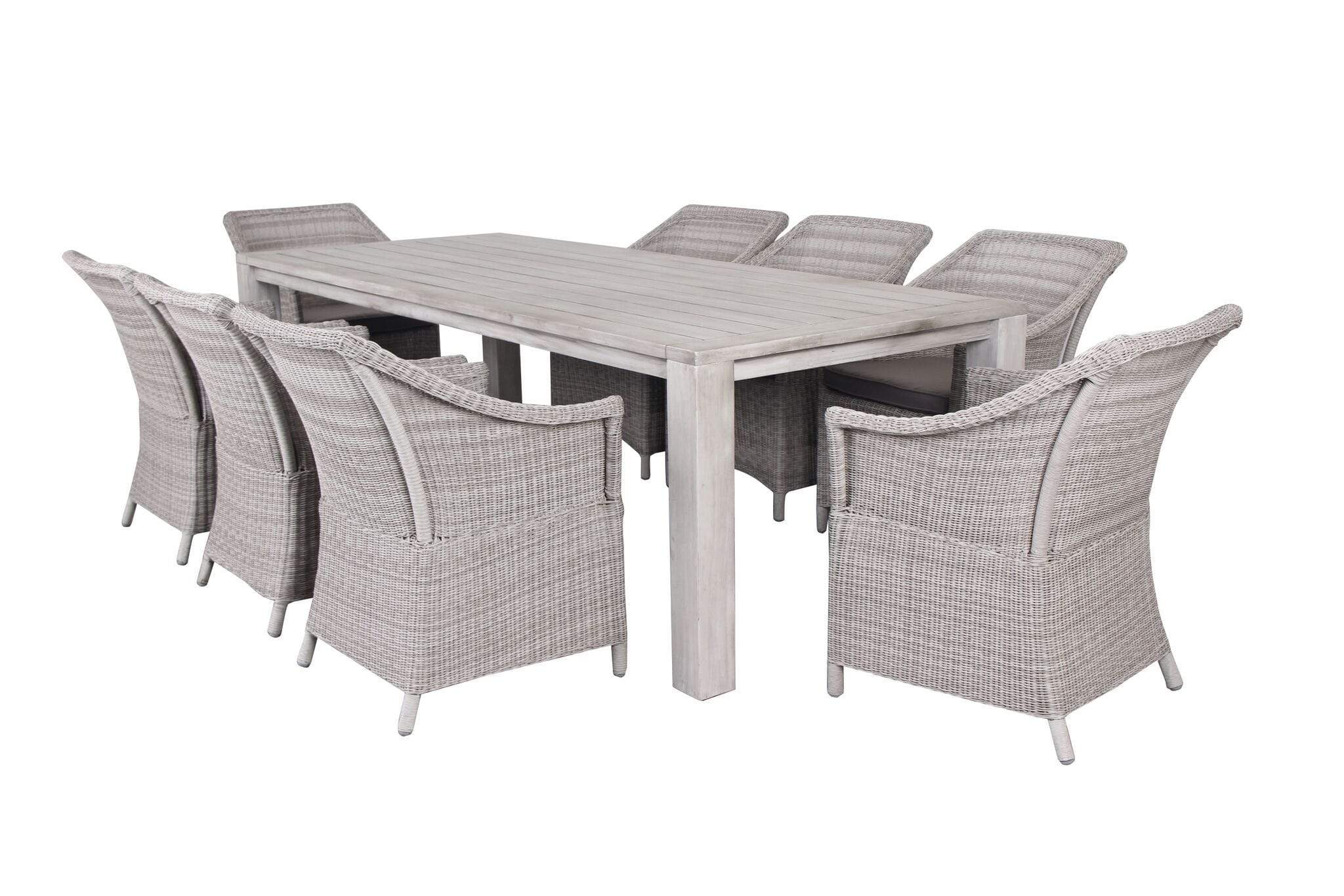 Fineline 9 Piece Dining Suite with Whitewash Table & Wicker Chairs