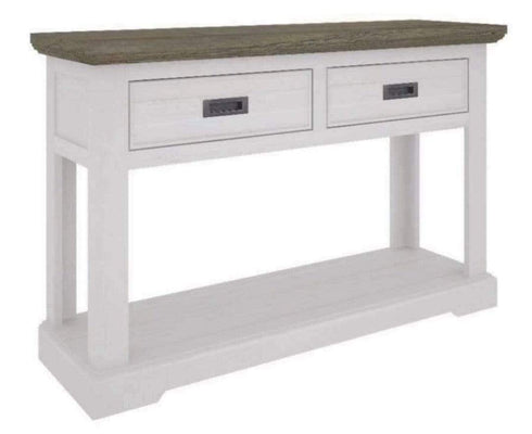 Hamptons Solid Timber Console Table with Honey Oak Top