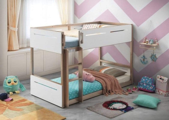 Kiddy Scandi Bunk Bed in Oak and White