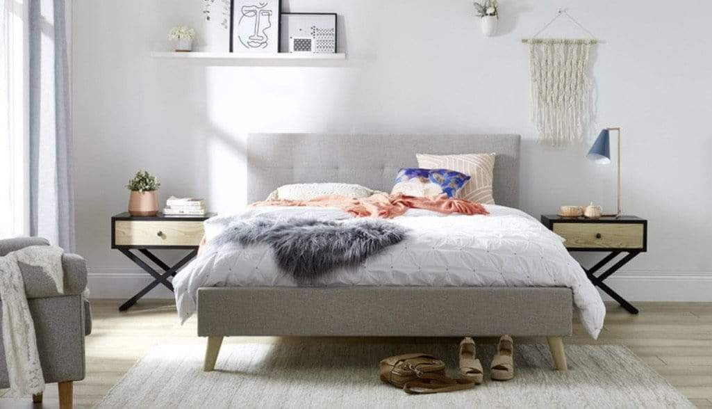 Lacie Fabric Bed Frame with Tufted Light Grey Finish