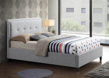 Silver fabric Bed Frame with Fabric Tufted Headboard