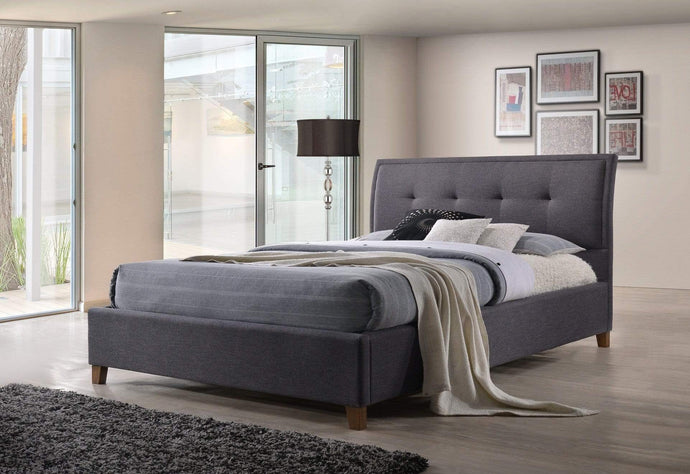 Grey fabric Bed Frame with Fabric Tufted Headboard