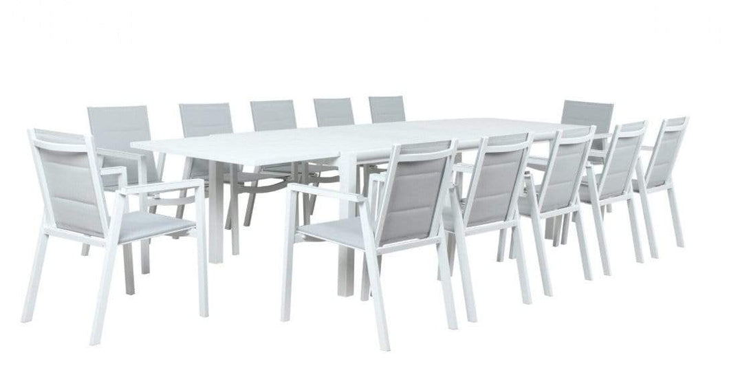 Mikado 11 Piece Extension Outdoor Dining Suite in White Aluminium