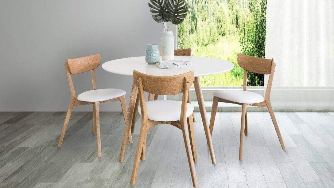 Norway 5 Piece Dining Suite with a Stylish Scandinavian Oak and White Finish