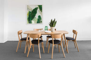 Retro Dining Set with Scandinavian Oak Finish
