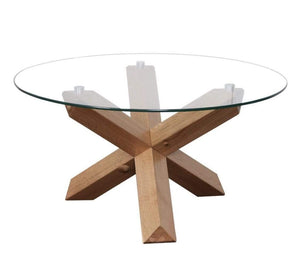 Sala Coffee Table with Glass Round Top and Solid Oak Frame