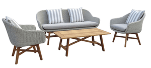 Sven 4 Piece Outdoor Lounge Suite with Timber and Wicker Finish