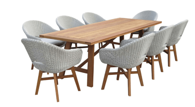 Sven 9 Piece Timber Outdoor Dining Suite with Wicker Outdoor Dining Chairs