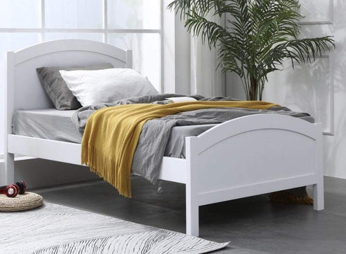 White Timber Single Bed Frame with Solid Timber Slats