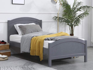 Grey Timber Single Bed Frame with Solid Timber Slats