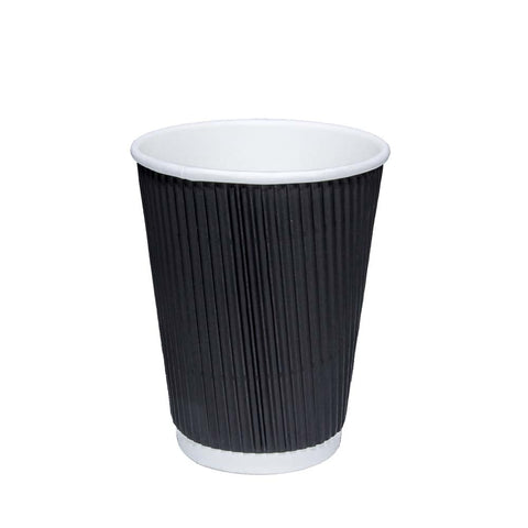 Details about Disposable Coffee Cups 8oz 12oz 16oz Takeaway Paper Triple Wall Take Away Black