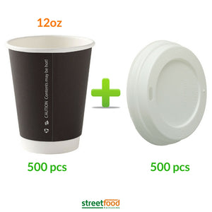 12oz Double wall cups with matching white Lids - 500