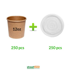12oz brown soup containers with matching plastic vented lids for soups and curries -250pcs