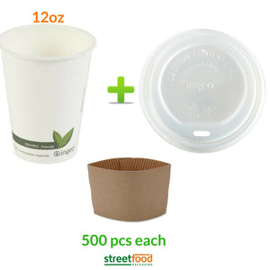 500 pieces of complete set of compostable cups and lids and sleeves