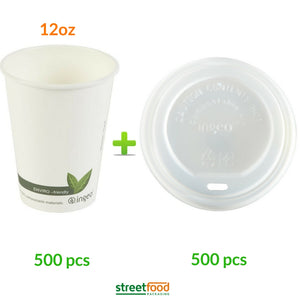12oz compostable cup and compostable lid - biogedradable coffee cup lid - 500 pcs