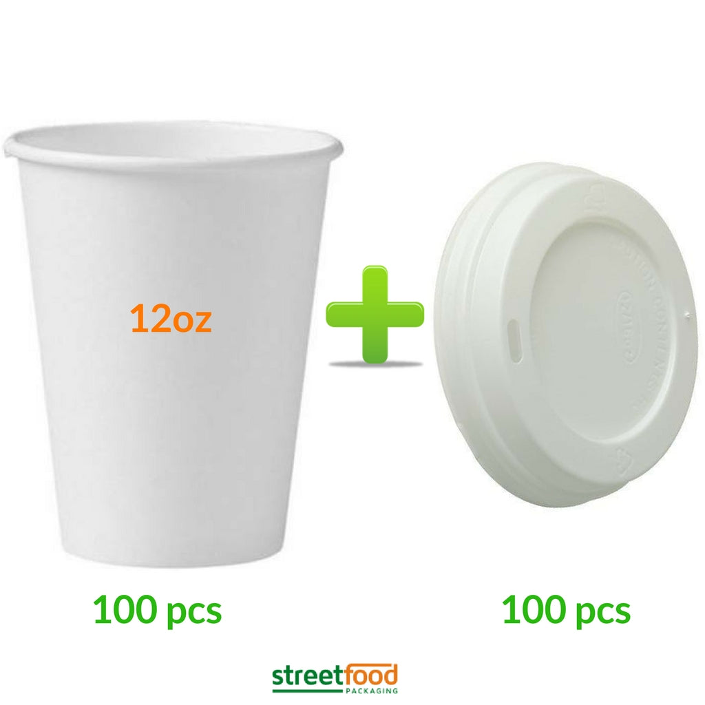 12oz White Hot Coffee Cup with White Matching Lids - 100 pieces