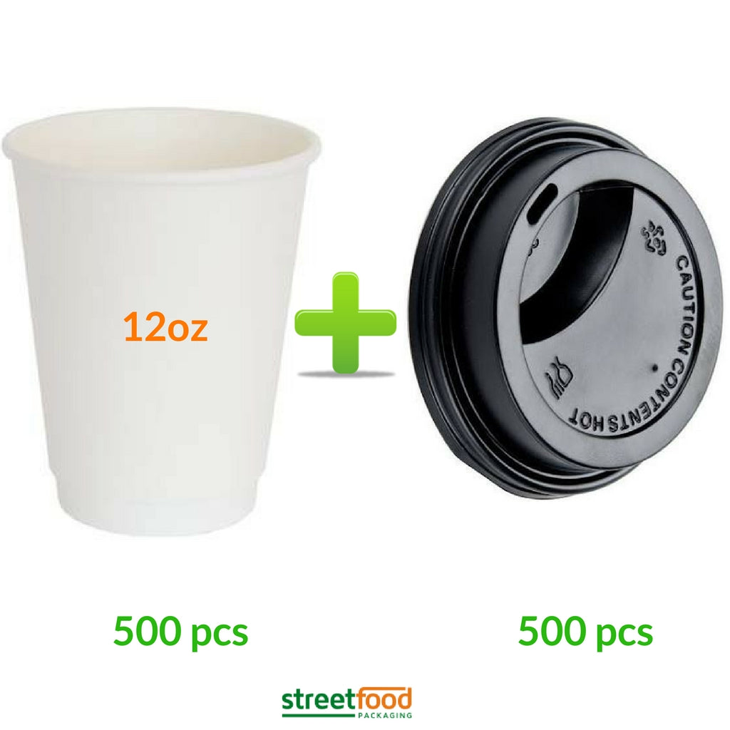 double wall 12oz white hot paper cup for coffee and tea with black lid 500 pcs
