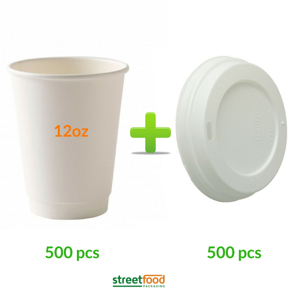 lain White Double wall cup is a fully recyclable insulated coffee cup, Packed in convenient easy to re-order cartons of 500