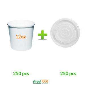 12oz Soup container with matching plastic vented Lids - 250pcs