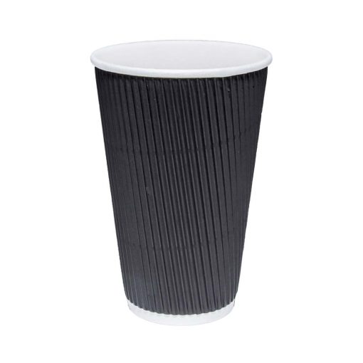 16oz Black Ripple Cups| Tall Coffee Cup
