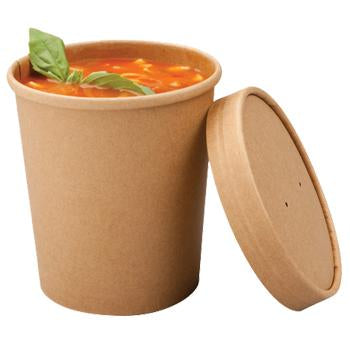 16oz Kraft Paper Soup Container with Lids - Combo Pack