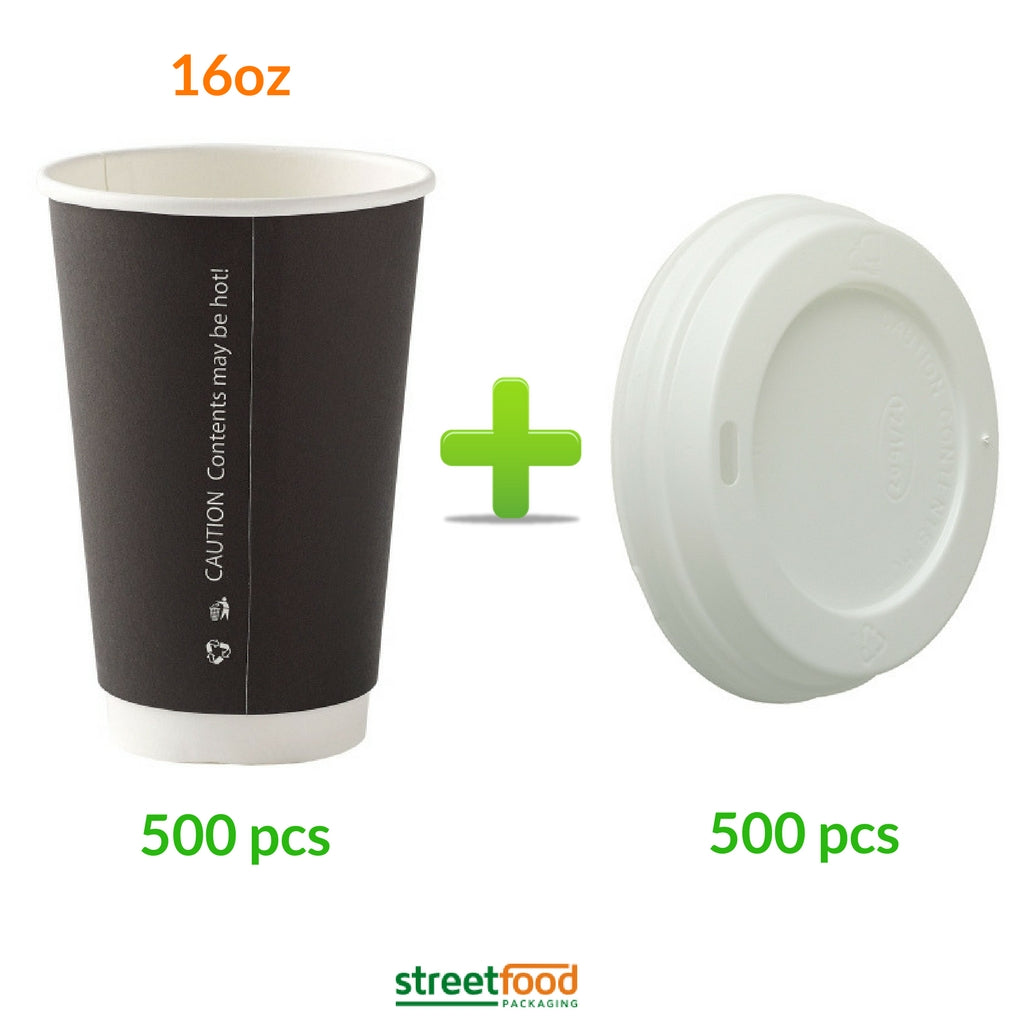 16oz Black Double wall cups with lids - 500