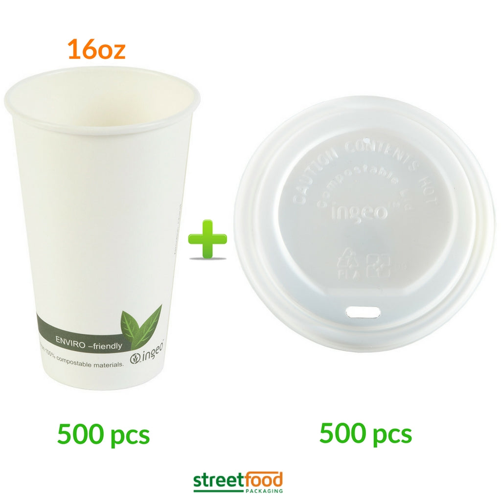 16oz compostable White Hot Coffee Cup with White Matching Lids - 50 - 500 Cups