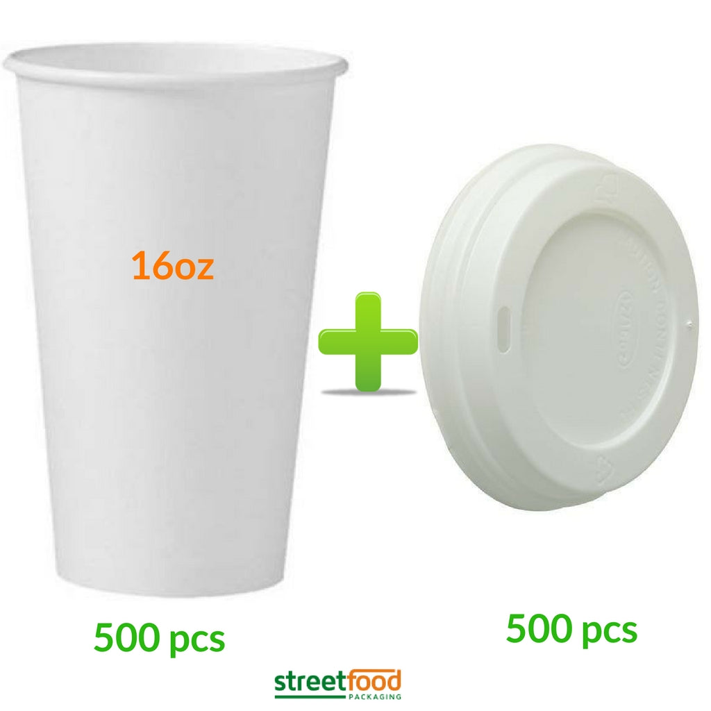16oz White Hot Coffee Cup with White Matching Lids - Quantities of 50 - 500 Cups with Lids - Save money with our convenient Combi packs