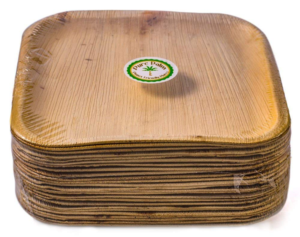 Palm Leaf Plate - 24cm x 24cm Square  | Eco friendly and Biodegradable  Square Plate  7