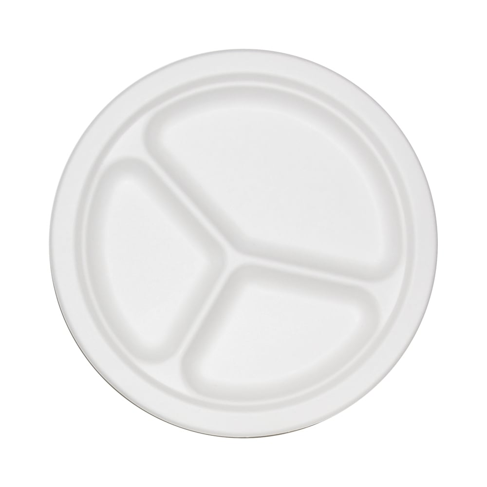 Eco Friendly Paper Plates  Disposable Plates  Wholesale Paper Plates  9\  3-Compartment Sugarcane Bagasse Plate (Case x 500)  sc 1 st  Streetfood Packaging & Eco Friendly Paper Plates   Bagasse Plate  9\