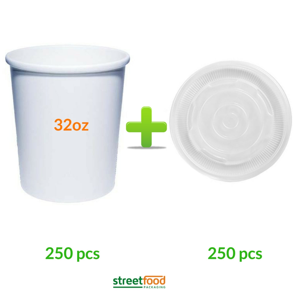 32oz White Soup Container with Plastic Lids - 32oz White Containers