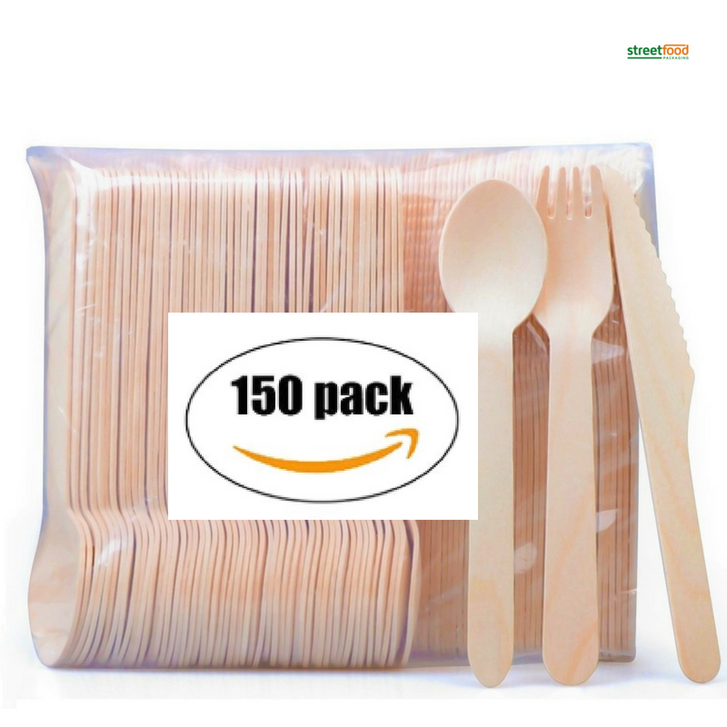 Disposable Wooden Cutlery 150 pack -Forks(50), Knives(50) and Spoons(50), Perfect Alternative For Plastic P215 (150)