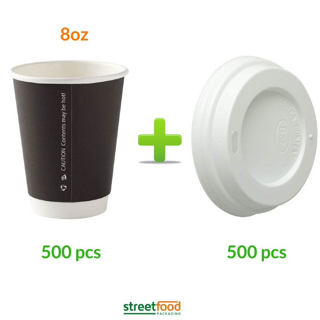 8oz Black Double Wall Cups with matching Lids - 500
