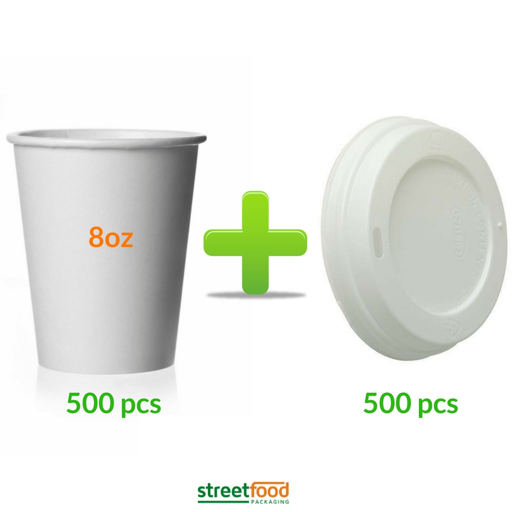 8oz Coffee Cups with white matching lids for coffee, beverage and cold drinks - 500 pcs