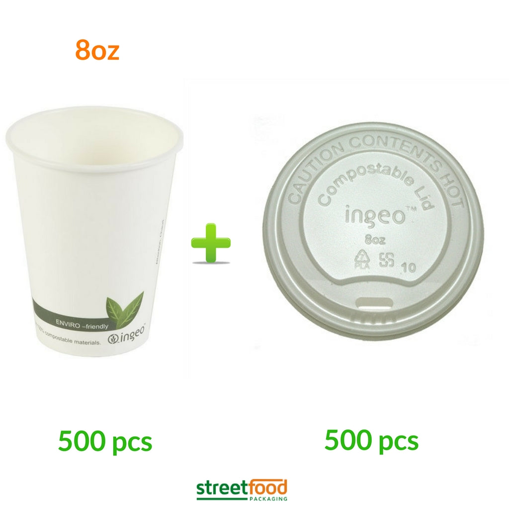 8oz Compostable Coffee Cups with white matching lids for coffee, beverage and cold drinks - 500