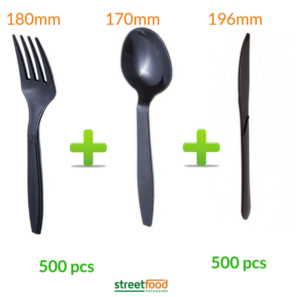Black Cutlery set of 500 pieces each