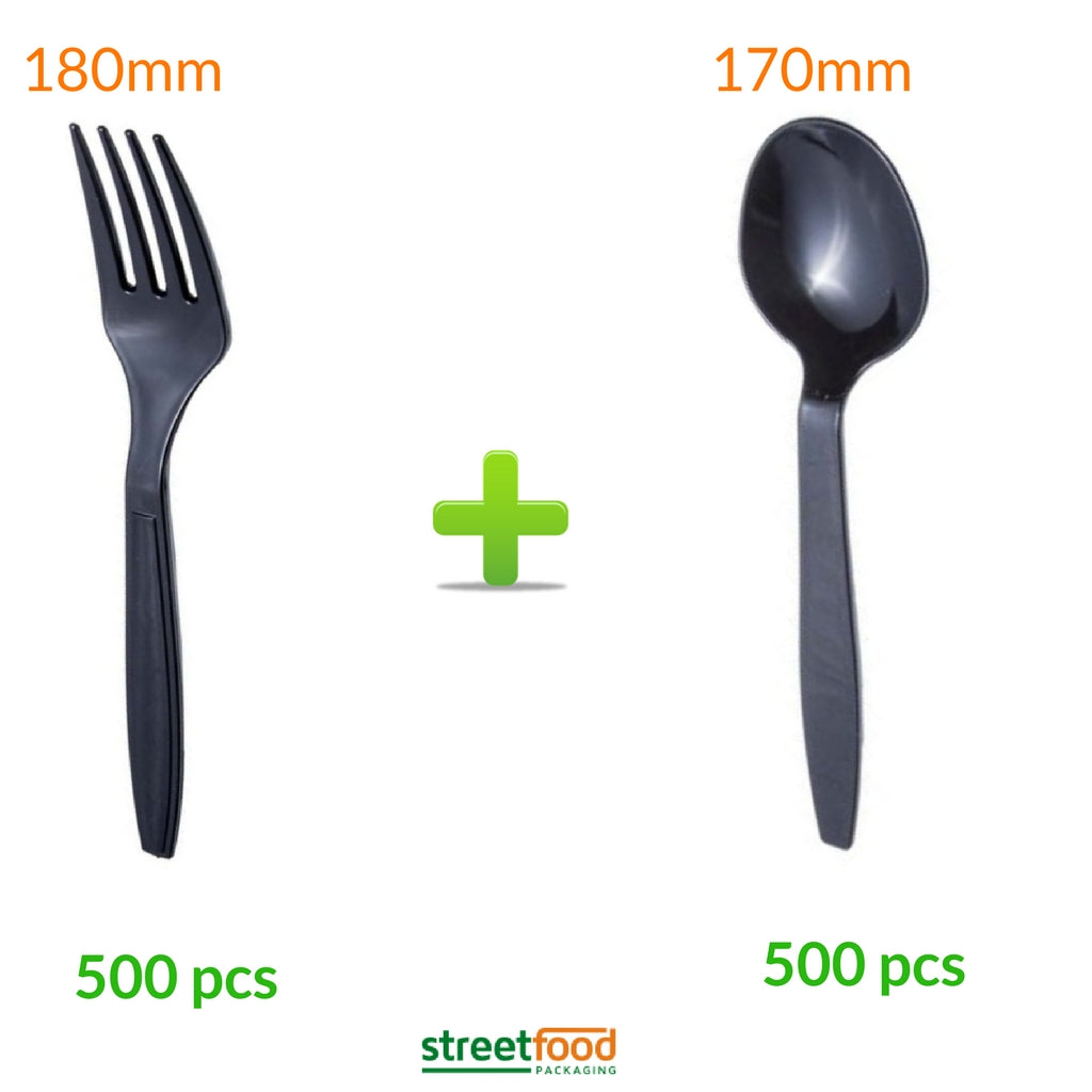 Black Cutlery set of spoons and forks 500