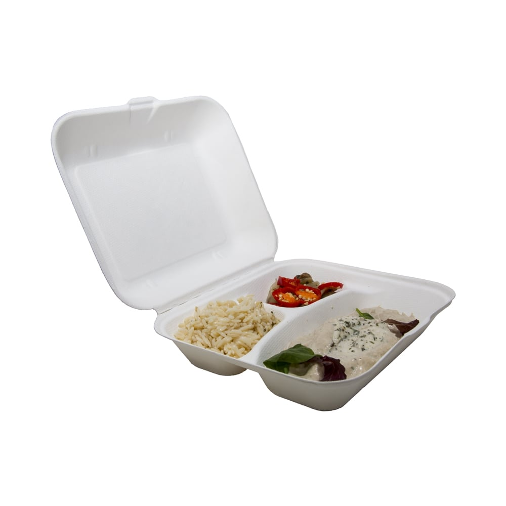 food box takeaway box bagasse food container 3 compartment food box case x streetfood. Black Bedroom Furniture Sets. Home Design Ideas