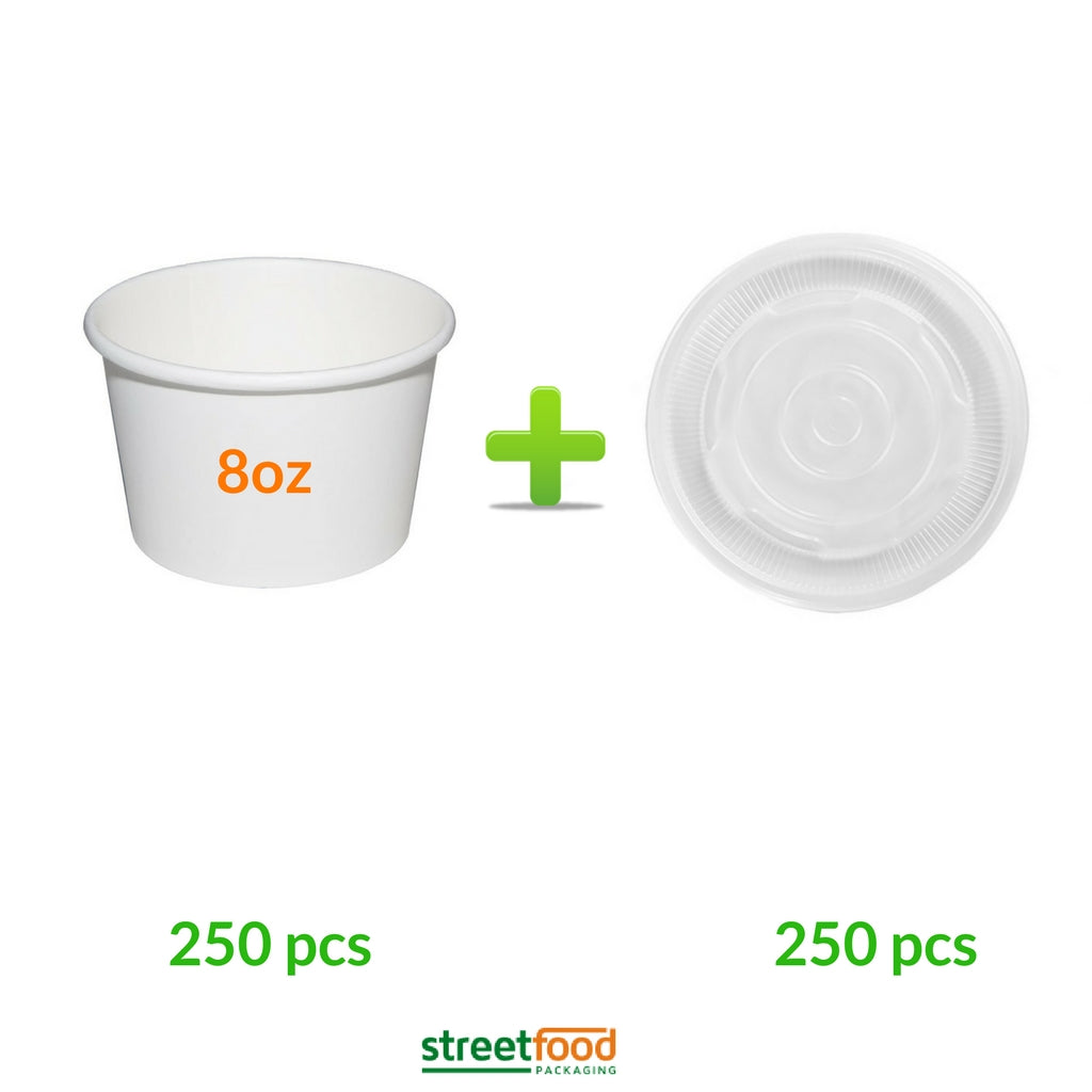 8oz White Soup Containers with Plastic Vented Lids -  250pcs