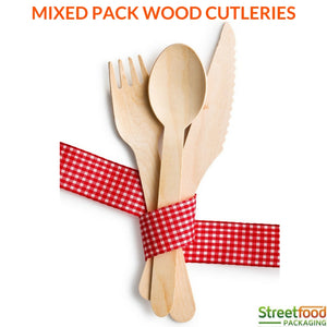 Wood Bamboo Cutleries Wood Spoons / Wood Forks/ Wood Knives (Mixed Pack)