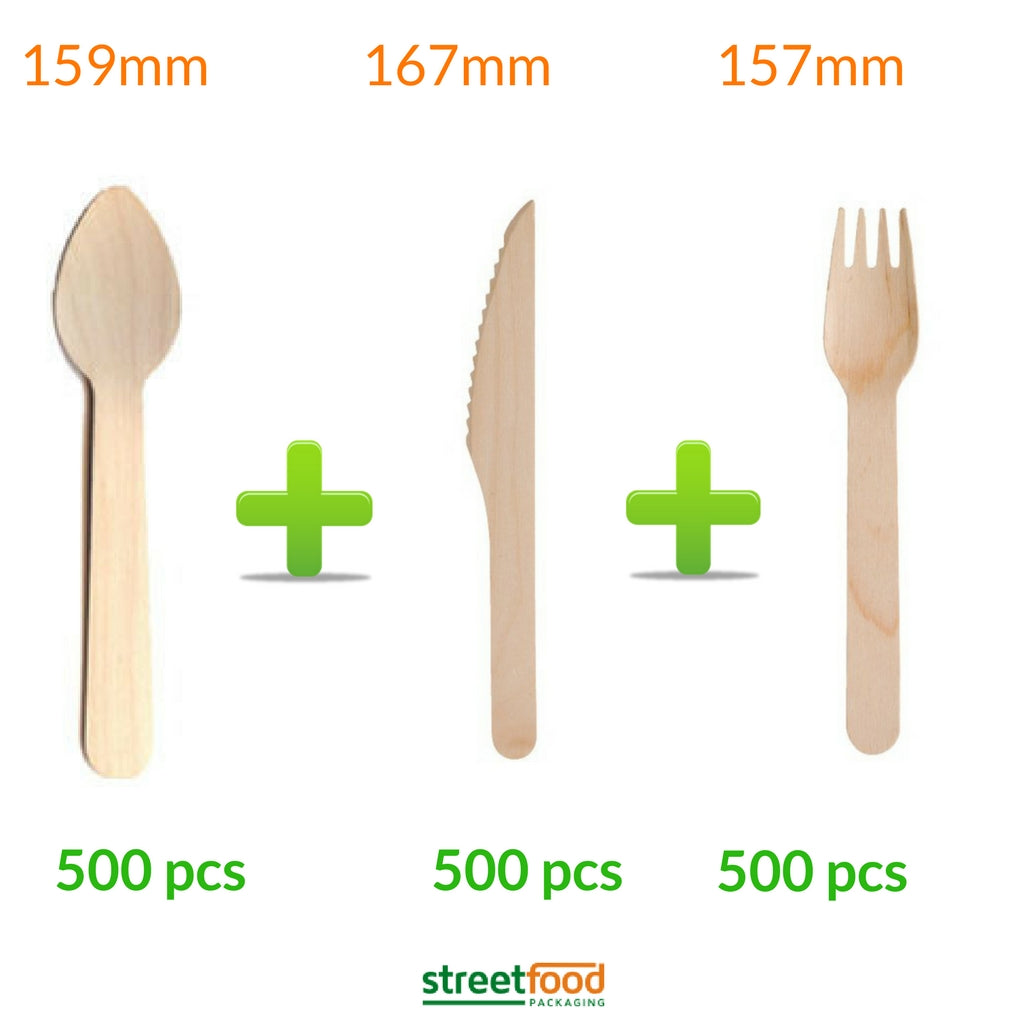 400 x Wooden Cutlery Knives Forks Spoons Disposable Biodegradable Party BBQ ECO