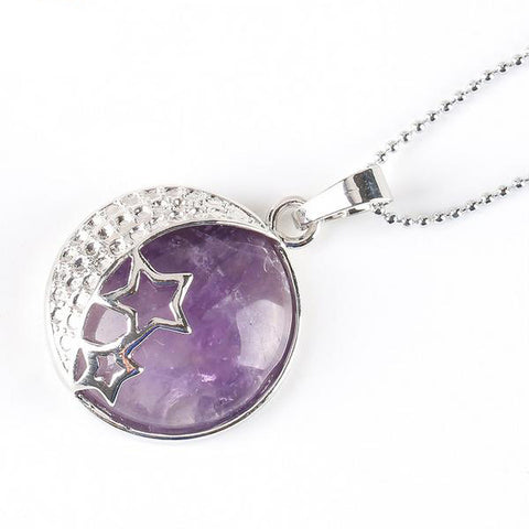 Moon and Stars Natural Stone Pendant Necklace in 11 Different Colors