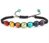 7 Chakra Bead Bracelet with Black Braided Strap
