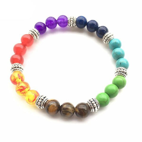 Colorful Chakra Bead Bracelet with 3 Bead Design
