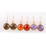 Natural Round Stone Earrings
